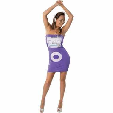 Strapless jurkje paars met mediaspeler print voor dames