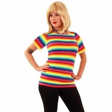 T shirt met regenboog strepen voor dames