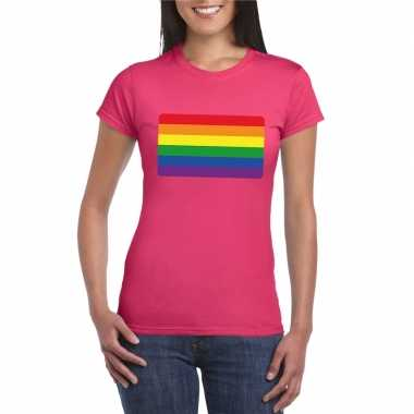 T shirt met regenboog vlag roze dames