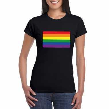 T shirt met regenboog vlag zwart dames