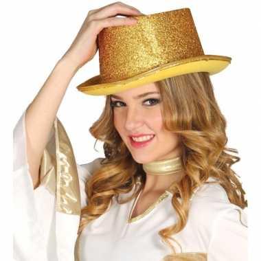 Top hat goud met glitters