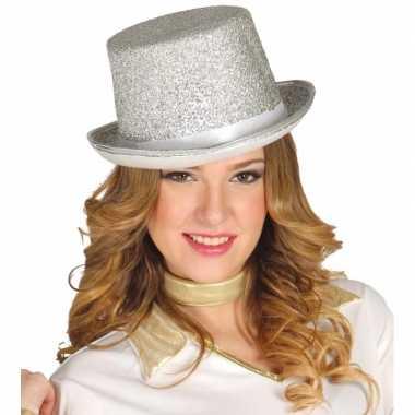 Top hat zilver met glitters