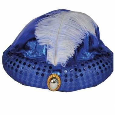 Toppers blauw arabisch sultan hoedje met diamant en veer