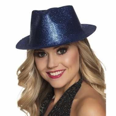 Toppers blauw trilby hoedje met glitters voor dames