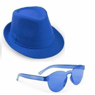 Toppers blauw trilby party hoedje met blauwe zonnebril