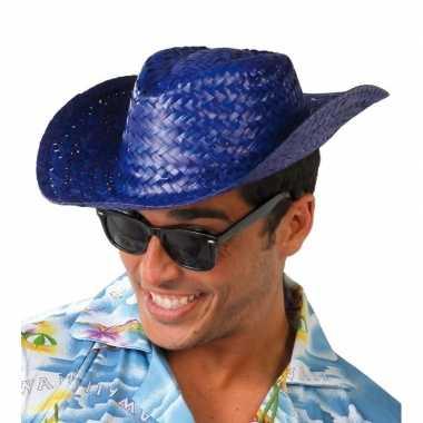 Toppers blauwe cowboy/strohoed voor volwassenen