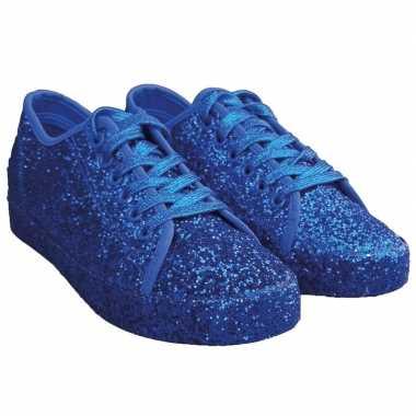 Toppers blauwe glitter disco sneakers/schoenen voor dames