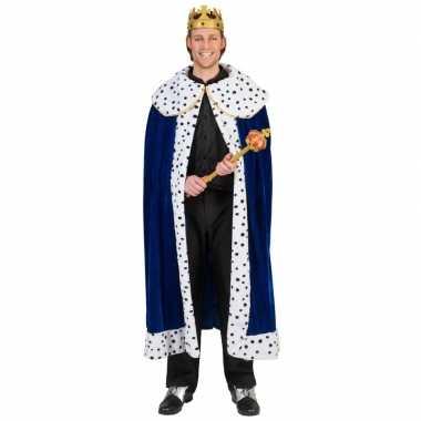 Toppers blauwe koning cape/mantel voor volwassenen