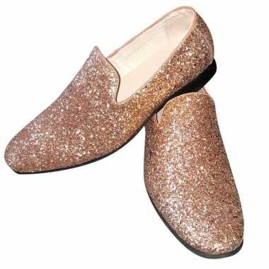 Toppers gouden glitter pailletten disco instap schoenen voor heren