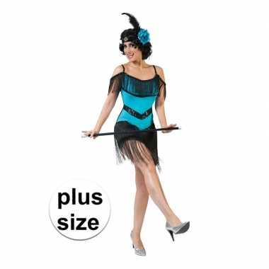 Toppers grote maat blauw/zwart charleston verkleed jurkje voor dames