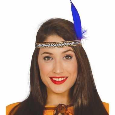 Toppers indianen verkleed hoofdband met blauwe veer voor volwassenen