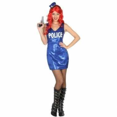 Toppers politie glitter verkleed jurkje voor dames
