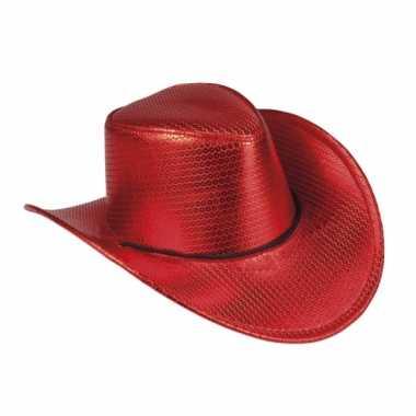 Toppers rode cowboyhoed howdy pailletten voor volwassenen