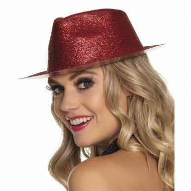 Toppers rood trilby hoedje met glitters voor dames