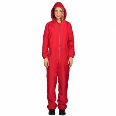 Toppers verkleed overall papel rood voor dames