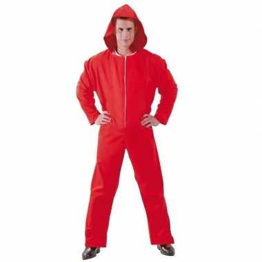 Toppers verkleed overall papel rood voor heren