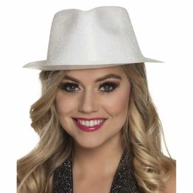 Toppers wit trilby hoedje met glitters voor dames