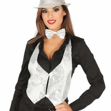 Toppers witte verkleed gilet met pailletten maat 38/40 voor dames
