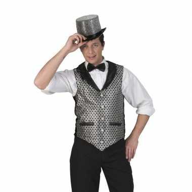 Toppers zilver/zwart verkleed gilet voor heren