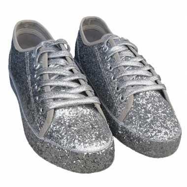Toppers zilveren glitter disco sneakers/schoenen voor dames