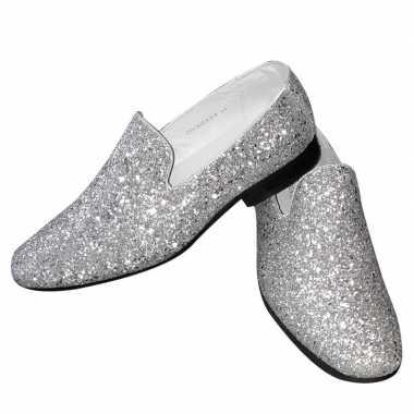 Toppers zilveren glitter pailletten disco instap schoenen voor heren