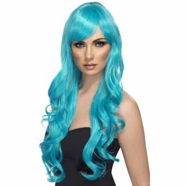 Turquoise blauwe pruik voor dames