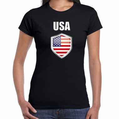 Usa landen supporter t shirt met amerikaanse vlag schild zwart dames