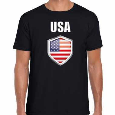 Usa landen supporter t shirt met amerikaanse vlag schild zwart heren