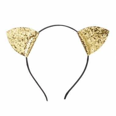 Verkleed poezen oren met glitters goud