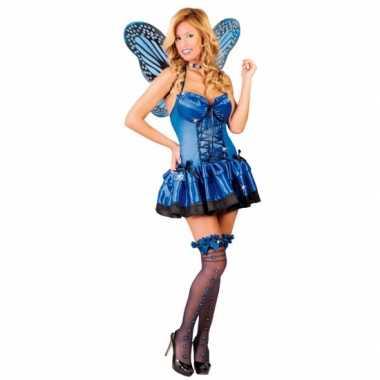 Verkleedkleding vlinder kostuum blauw