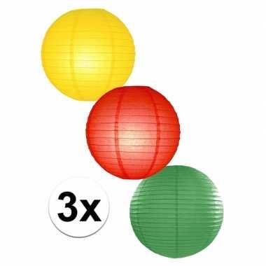 Voordeelverpakking met 3 carnaval lampionnen 25 cm