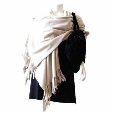 Winter poncho / omslagdoek wit