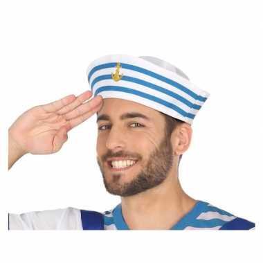 Wit/blauw matrozen verkleed hoedje voor volwassenen