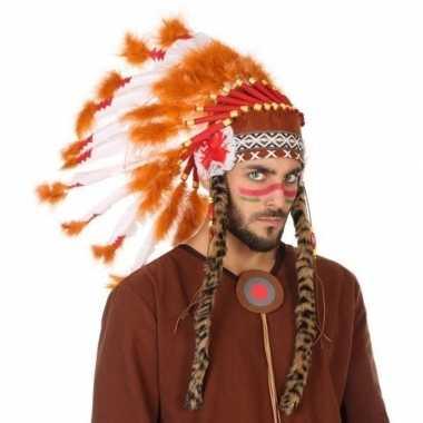 Wit/oranje luxe indianen tooi voor heren