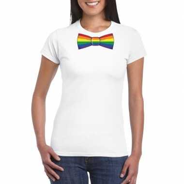 Wit t shirt met regenboog vlag strikje dames
