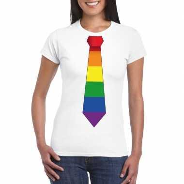 Wit t shirt met regenboog vlag stropdas dames