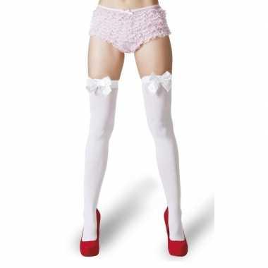 Witte kousen met witte strikjes voor dames