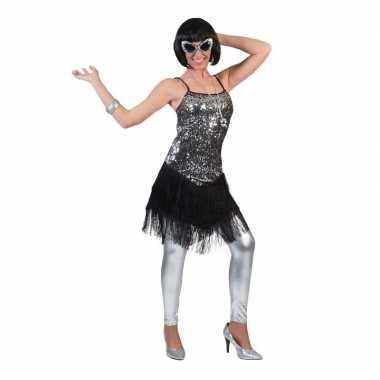 Zilver/zwart charleston verkleed jurkje voor dames