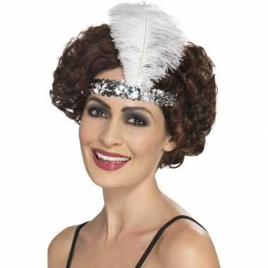 Zilveren charleston hoofdband met veer