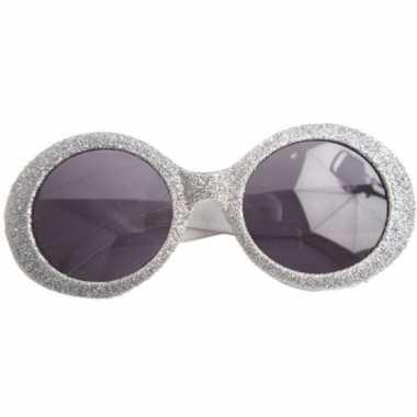 Zilveren disco carnaval verkleed bril met glitters