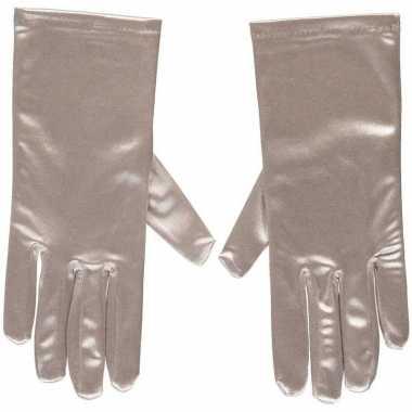 Zilveren gala handschoenen kort van satijn 20 cm