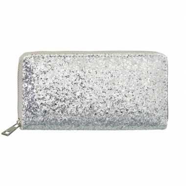 Zilveren glitter portemonnee voor dames