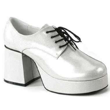 Zilveren glitterschoenen met hak