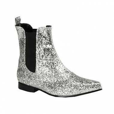 Zilveren mannen laarzen enkel model