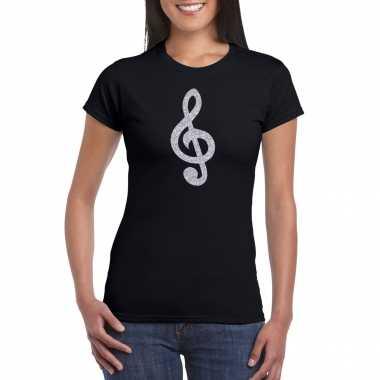 Zilveren muziek noot g sleutel / muziek feest t shirt / kleding zwart dames