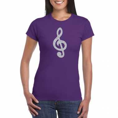 Zilveren muzieknoot g sleutel / muziek feest t shirt / kleding paars dames
