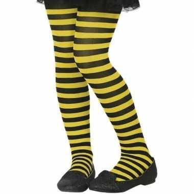 Zwart/gele verkleed panty voor kinderen