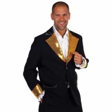 Zwart goud glitter kostuum heren