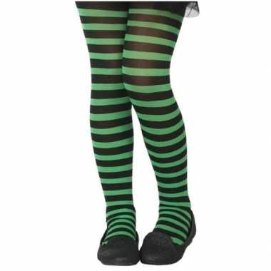 Zwart/groene verkleed panty voor kinderen