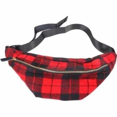 Zwart/rood geruite heuptasje/buideltasje 40 cm